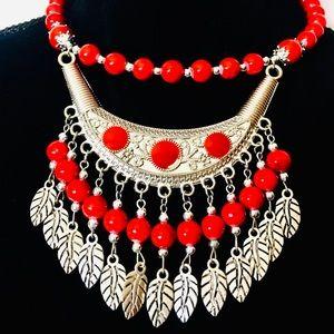 Boho handmade beaded choker necklace red silver